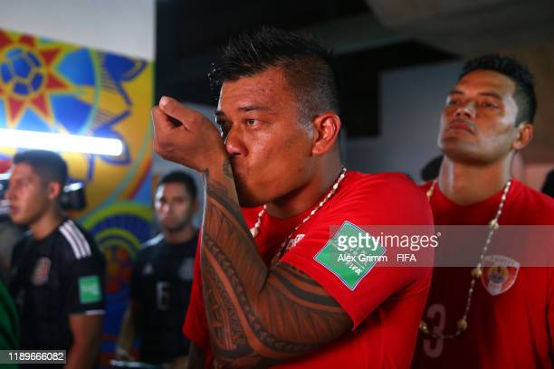 Angelo Tchen of Tahiti concentrates in the players tunnel prior to the FIFA Beach Soccer World Cup Paraguay 2019 group B match between Tahiti and...