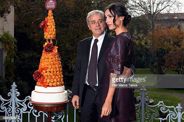 Angelo Teodoli and Caterina Balivo attend 'Il piu Grande Pasticcere' photocall at the Casa Degli Atellani on November 20 2014 in Milan Italy