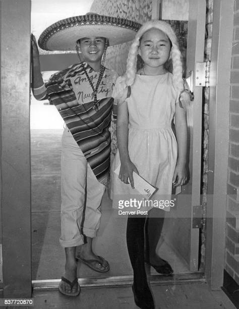 MAY 27 1962 'Angelo the Naughty One' is Jerry Derrera of 3225 High St while Vicki Hakamura of 2910 Elizabeth St was Pippi Longstocking Credit Denver...