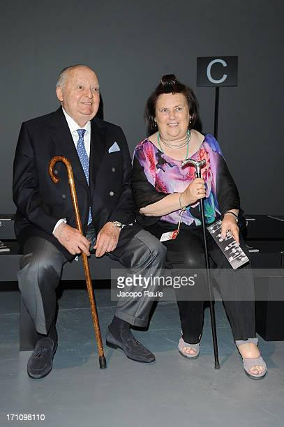Angelo Zegna and Suzy Menkes attend Ermenegildo Zegna show during Milan Menswear Fashion Week Spring Summer 2014 on June 22 2013 in Milan Italy