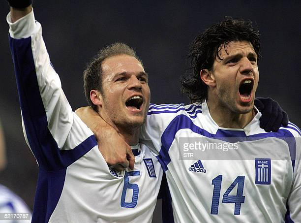 Angelos Basinas and Panagiotis Fissas of Greece celebrate Basinas' goal against Denmark during their World Cup 2006 qualifier at the Karaiskaki...