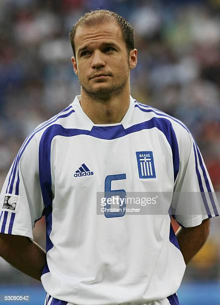 Angelos Basinas of Greece during the FIFA Confederations Cup 2005 Match between Brazil and Greece on June 16 2005 in Leipzig Germany