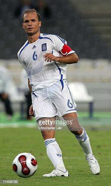 Angelos Basinas of Greece in action during the Euro 2008 Group C Qualifying match between Greece and Bosnia Herzegovina at the Olympic Stadium on...