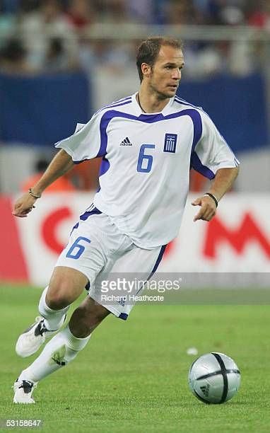 Angelos Basinas of Greece in action during the FIFA World Cup 2006 qualifying between Greece and Ukraine held at the Georgios Karaiskakis Stadium on...