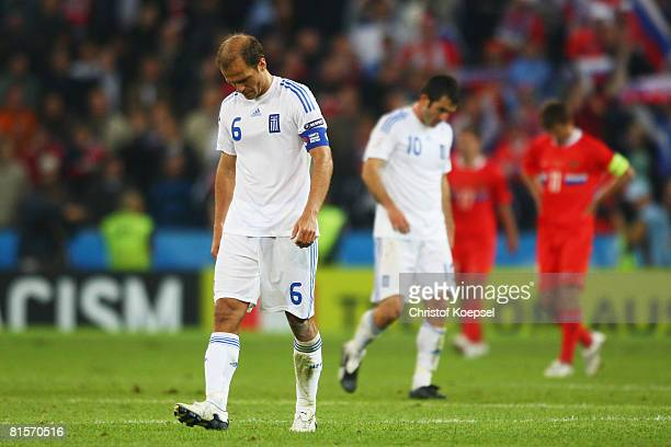Angelos Basinas of Greece looks dejected after defeat in the UEFA EURO 2008 Group D match between Greece and Russia at Stadion WalsSiezenheim on June...