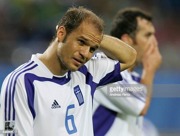 Angelos Basinas of Greece looks disappointed after the FIFA Confederations Cup 2005 match between Brazil and Greece on June 16 2005 in Leipzig...