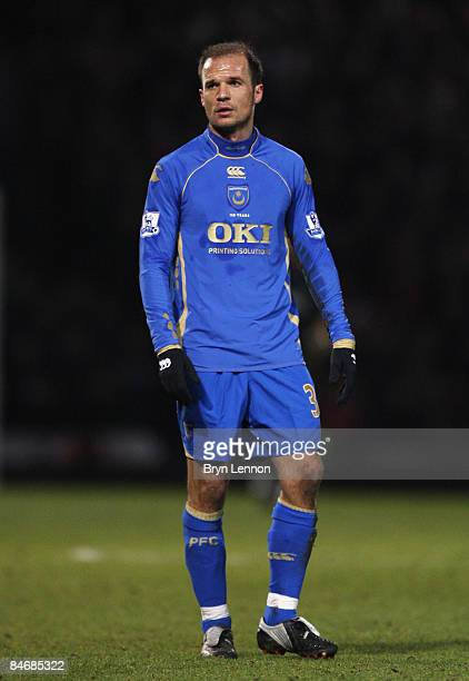 Angelos Basinas of Portsmouth looks on during the Barclays Premier League match between Portsmouth and Liverpool at Fratton Park on February 7 2009...