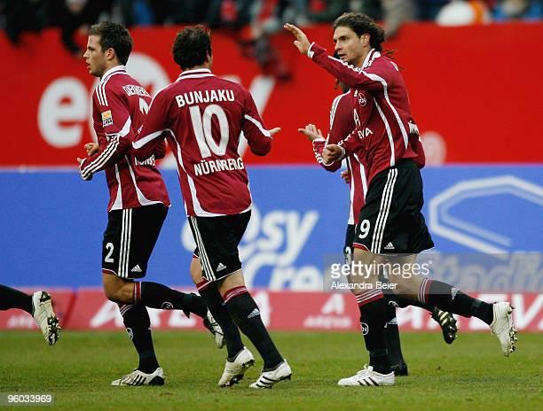 Angelos Charisteas and Albert Bunjaku celebrate their first goal against Eintracht Frankfurt at Easy Credit Stadium on January 23 2010 in Nuremberg...