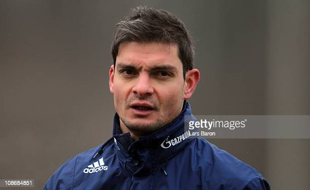 Angelos Charisteas is seen during a FC Schalke 04 training session at Schalke 04 training ground on February 1 2011 in Gelsenkirchen Germany