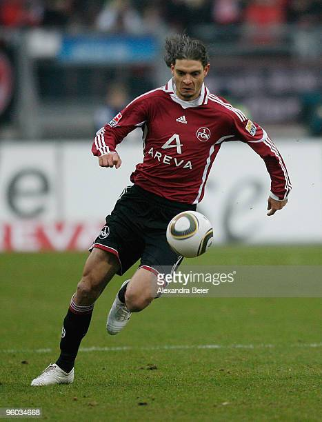 Angelos Charisteas of 1 FC Nuernberg kicks the ball during the Bundesliga first division soiccer match between 1 FC Nuernberg and Eintracht Frankfurt...