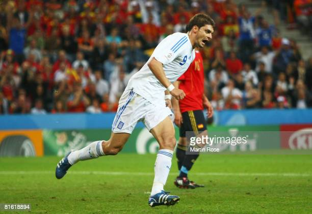 Angelos Charisteas of Greece celebrates scoring the opening goal during the UEFA EURO 2008 Group D match between Greece and Spain at Stadion...