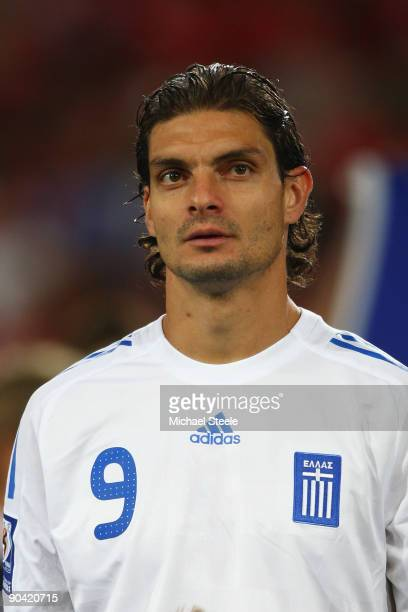 Angelos Charisteas of Greece during the FIFA 2010 World Cup Qualifying Group 2 match between Switzerland and Greece at the StJakobPark Stadium on...