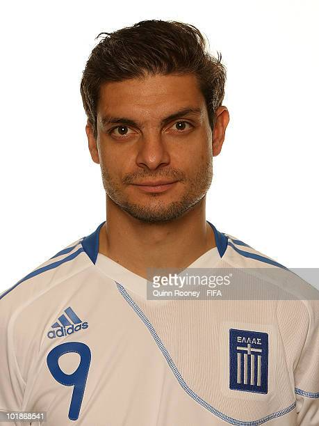 Angelos Charisteas of Greece poses during the official FIFA World Cup 2010 portrait session on June 7 2010 in Durban South Africa