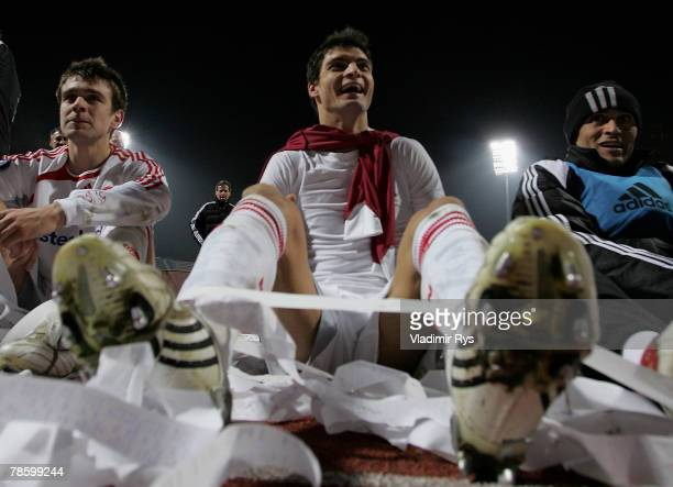 Angelos Charisteas of Nuernberg celebrates after winning 13 the UEFA Cup Group A match between Larissa FC and 1 FC Nuernberg at the Panthessaliko...