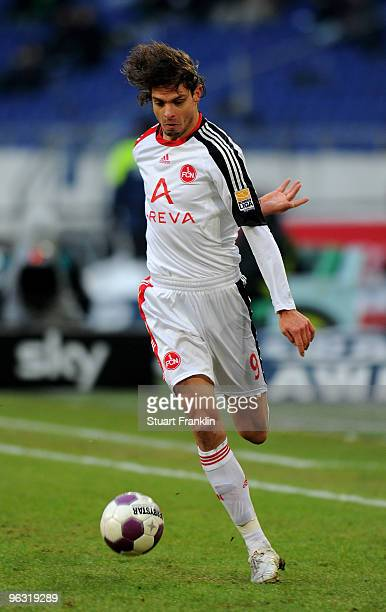 Angelos Charisteas of Nuernberg in action during the Bundesliga match between Hannover 96 and FC Nuernberg at AWDArena on January 30 2010 in Hanover...