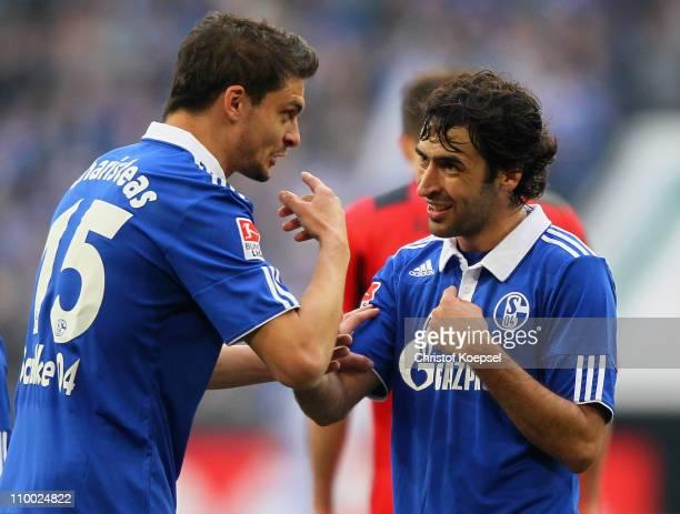 Angelos Charisteas of Schalke and Raúl Gonzalez of Schalke celebrate after winning 21 the Bundesliga match between FC Schalke 04 and Eintracht...