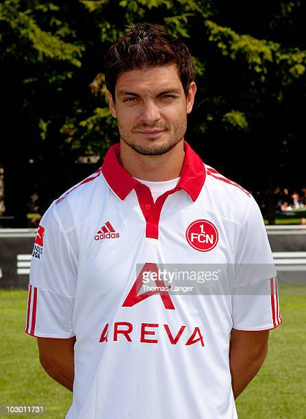 Angelos Charisteas poses during the 1 FC Nuernberg team presentation on July 19 2010 in Nuremberg Germany