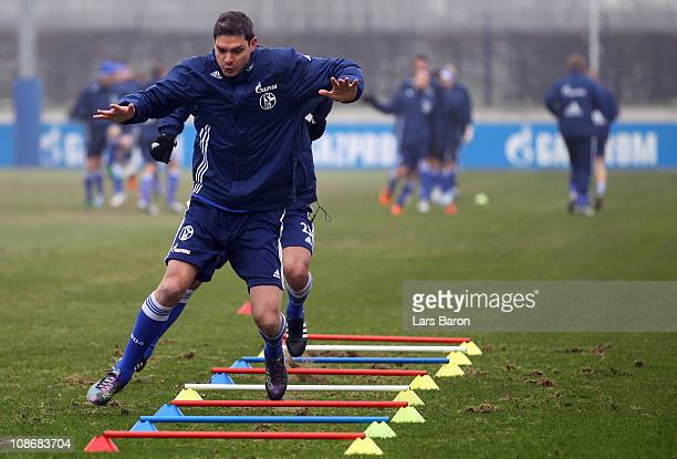 Angelos Charisteas warms up during a FC Schalke 04 training session at Schalke 04 training ground on February 1 2011 in Gelsenkirchen Germany