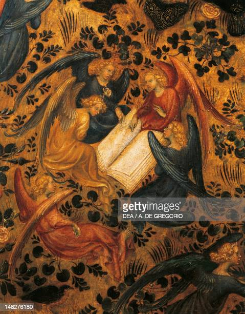 Angels arguing detail from the Madonna of the Rose Garden 14201435 attributed to Stefano da Verona or Michelino da Besozzo tempera on panel Verona...