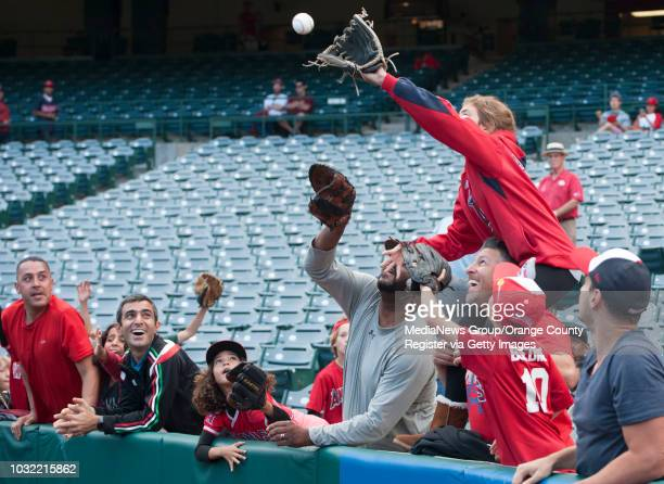 Angels' fans catch a ball int eh outfield before the Angels' 94 loss to the Minnesota Twins Monday at Angel Stadium INFO angels0614kjs Photo by KEVIN...