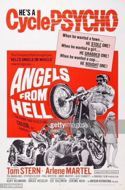 Angels From Hell poster US poster art top Tom Stern bottom Tom Stern holding gun to Jack Starrett's head Tom Stern holding blade to Pepper Martin's...