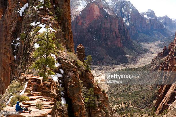 angels landing - zion national park stock pictures, royalty-free photos & images