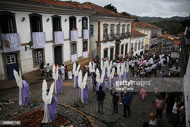 Angels march during the annual Easter procession during traditional Semana Santa festivities on April 5 2015 in Ouro Preto Brazil Holy Week marks...