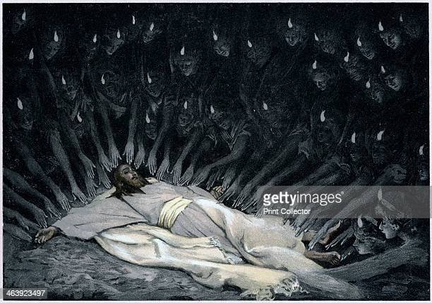 Angels ministering to Jesus after the Devil has left him 1897 Illustration by JJ Tissot for his Life of Our Saviour Jesus Christ