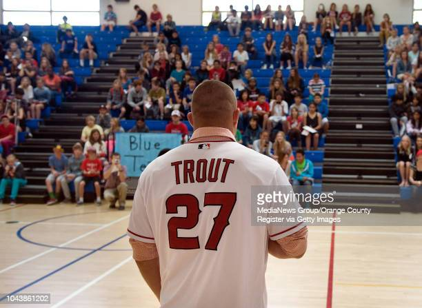 Angels outfielder Mike Trout talks to students at Thurston Middle School in Laguna Beach CA during an assembly on April 11 2013 Trout visited three...