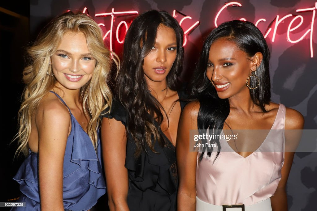VS Angels Romee Strijd, Lais Ribiero, and Jasmine Tookes Keep Up The Sexy in Miami on February 21, 2018 in Miami, Florida.