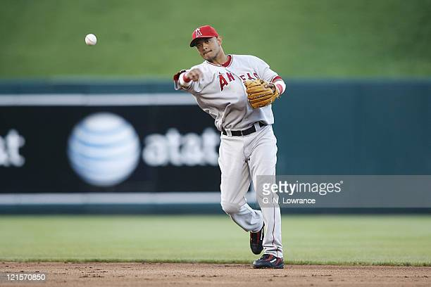 Angels shortstop Orlando Cabrera makes a throw during action between the Los Angeles Angels andKansas City Royals at Kauffman Stadium in Kansas City...