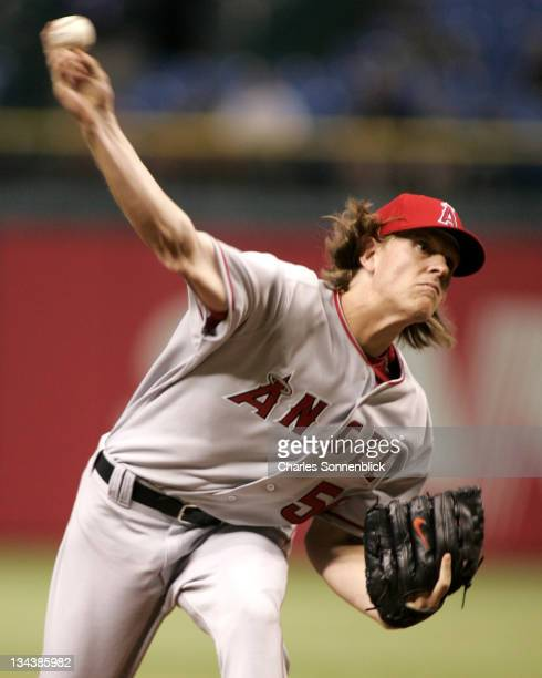 LA Angels starting pitcher Jered Weaver allowed only two runs against the Devil Rays on June 7th 2006 at Tropicana Field in St Petersburg FL