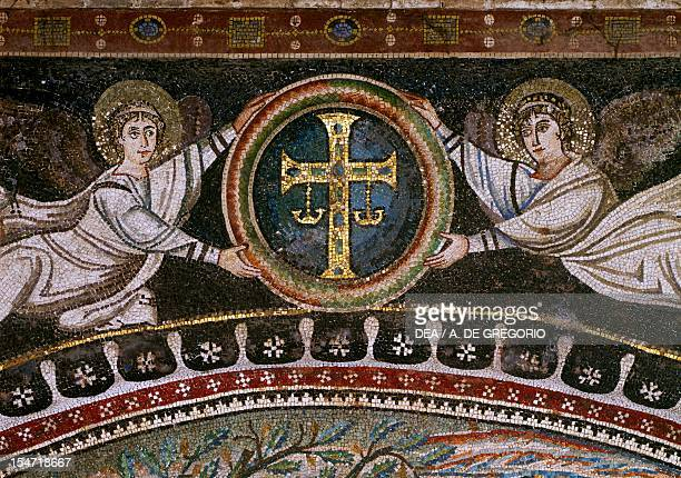 Angels with an apocalyptic cross mosaic above the lunette northern wall of the presbytery Basilica of San Vitale Ravenna EmiliaRomagna Detail Italy...