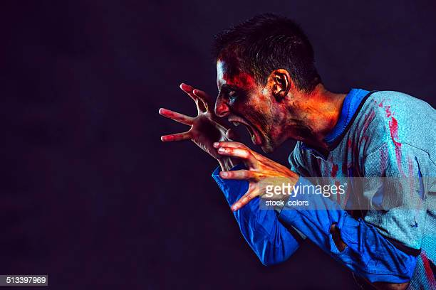anger and scream zombie - zombie makeup stock photos and pictures