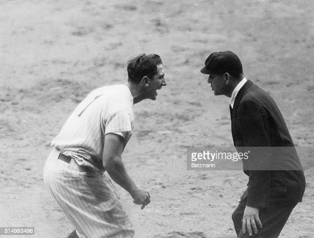 Angered over a call in the 4th inning of the second game of the Yankee White Sox Double header here May 6th Yanks' Billy Martin argues with umpire...