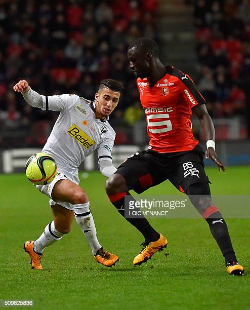 Angers' Algerian defender Said Benrahma fights for the ball with Rennes' FrenchSenegalese defender Cheik M'bengue during the French L1 football match...