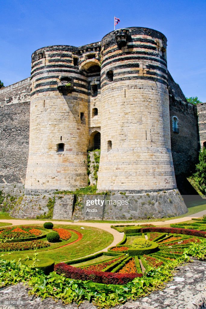 Chateau d'Angers, castle built by the Counts of Anjou (Chateau of the Loire Valley), medieval fortress registered as a National Historic Landmark (French 'Monument Historique').
