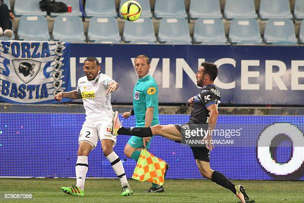 Angers French defender Gael Angoula vies with Bastia's French defender Julian Palmieri during the L1 football match Bastia against SCO Angers on May...