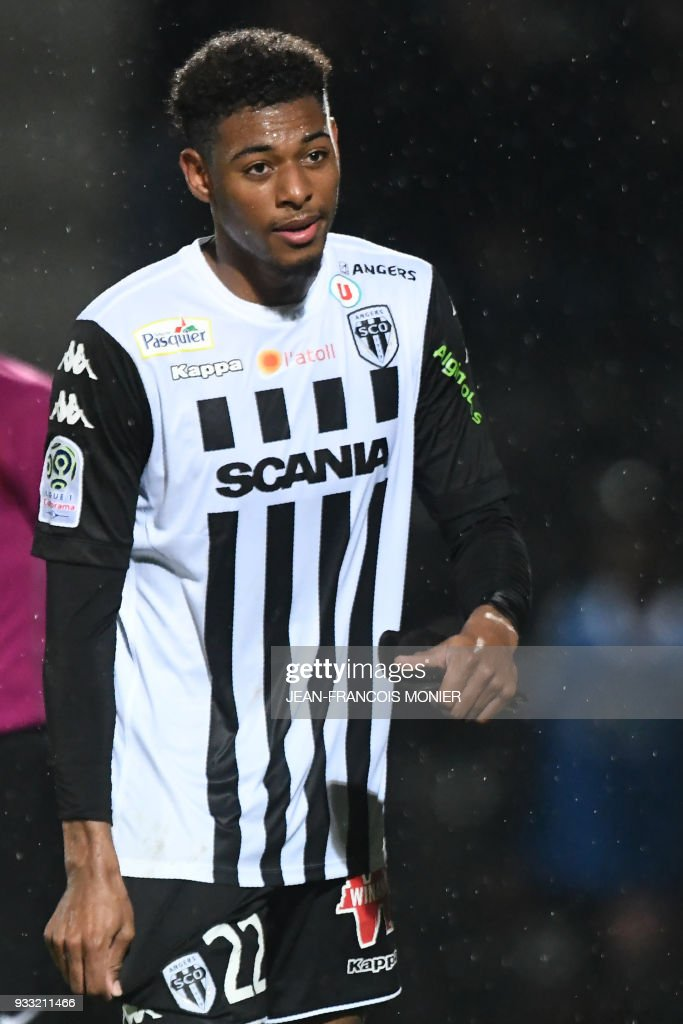 Angers' French forward Jeff Reine Adelaide leaves during the French L1 Football match between Angers (SCO) and Caen (SMC), on March 17, 2018, in Raymond-Kopa Stadium, in Angers, northwestern France. PHOTO / Jean-Francois MONIER