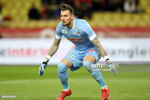 Angers' French goalkeeper Alexandre Letellier during the French L1 football match Monaco vs Angers on December 2 2017 at the Louis II stadium in...