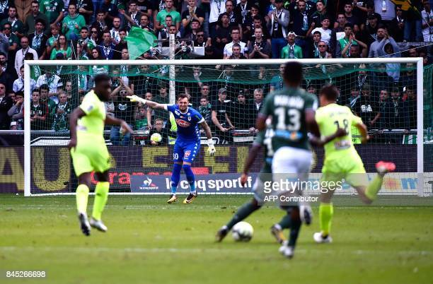 Angers' French goalkeeper Alexandre Letellier gestures during the French L1 football match between SaintEtienne and Angers on September 10 at the...