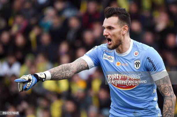 Angers' French goalkeeper Alexandre Letellier reacts during the French L1 football match between Nantes and Angers at Beaujoire Stadium in Nantes...