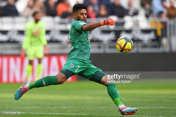 Angers' French goalkeeper Ludovic Boucher kicks the ball during the French L1 football match between Bordeaux and Angers on May 4, 2019 in Bordeaux.