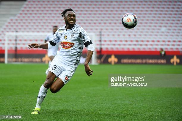 Angers' French Ivorian defender Souleyman Doumbia runs for the ball during the French L1 football match between OGC Nice and Angers SCO at the...