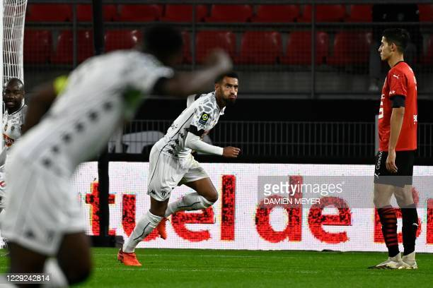 Angers' French midfielder Angelo Fulgini celebrates after scoring a goal during the French L1 football match between Stade Rennais and Angers, at the...