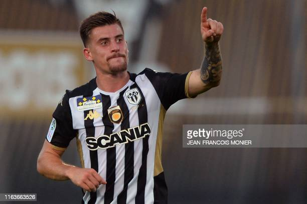 Angers' French midfielder Baptiste Santamaria celebrates after scoring a goal during the French L1 Football match between SCO Angers and FC Metz, on...