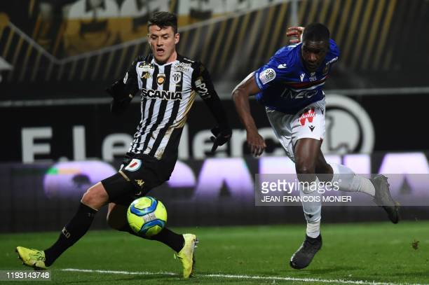 Angers' French midfielder Pierrick Capelle vies with Angers' French midfielder Jeff Reine Adelaide during the French L1 football match between Angers...