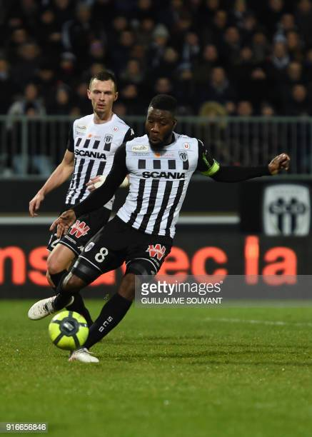 Angers' Ivorian defender Ismael Traore controls the ball during the French L1 Football match between Angers and Monaco on February 10 2018 in...