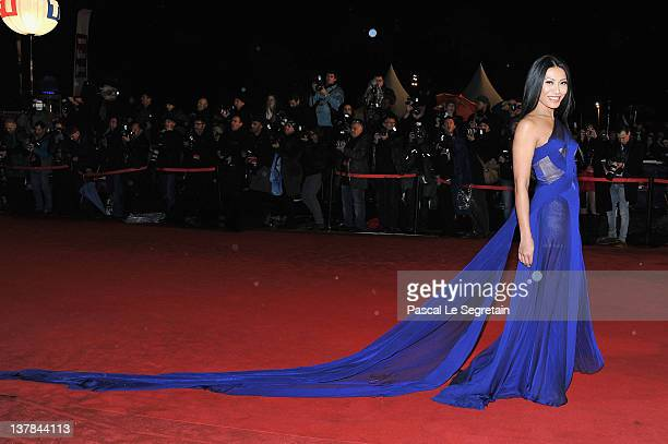 Angguni poses as she arrives at NRJ Music Awards 2012 at Palais des Festivals on January 28 2012 in Cannes France