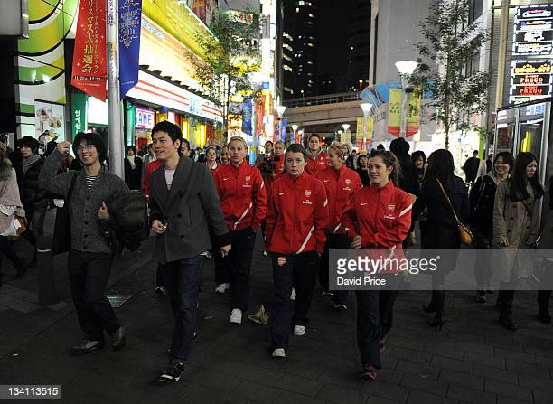 Angharad James and Bianca Bragg Ladies FC walk to the official welcome dinner during their tour to Japan on November 26 2011 in Tokyo Japan